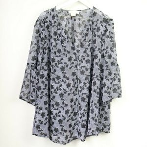 MICHAEL Michael Kors Floral 3/4 Bell Sleeve Blouse